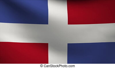 dominican republic flag waving gently in wind