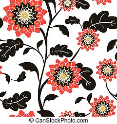 modern red sun flowers seamless background