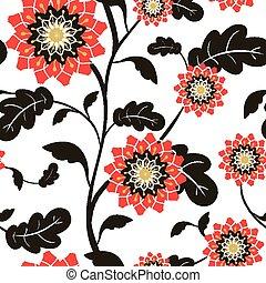 modern red sun flowers seamless background