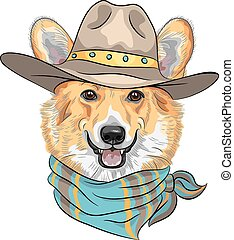 vector Hipster dog Pembroke Welsh corgi - Hipster dog...