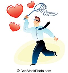 Businessman with a net catches flying red heart