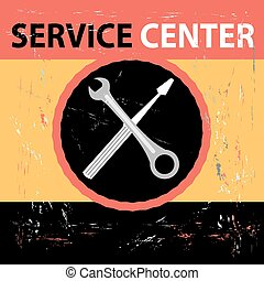 Service Center Retro - Bright graphic a retro poster Service...
