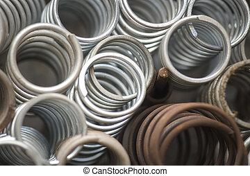 metal springs - High angle view of metal springs