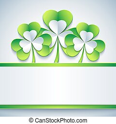 Patricks day card grey with leaf clover and paper - Stylish...