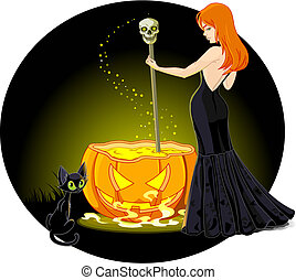 Cauldron witch - A sexy witch mixes a potion in her...