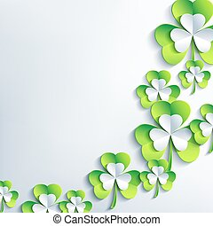 Trendy background for Patrick day with 3d leaf clover -...