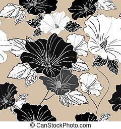 graceful seamless floral pattern over beige background