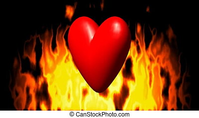 Burning heart in fire seamless loop