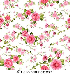 graceful seamless floral pattern over white background
