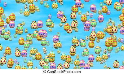 Falling easter eggs seamless loop