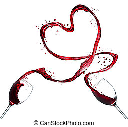 Red wine splash heart on white background - Glasses of red...