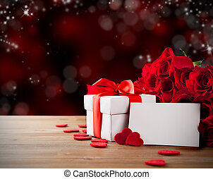 Valentine gift with roses - Valentines concept with bouquet...