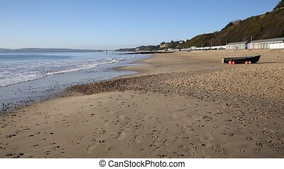 Boat on Bournemouth beach Dorset uk - Boat on Bournemouth...
