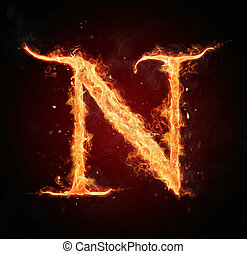 Fire letter on black background - Burning fire letter...