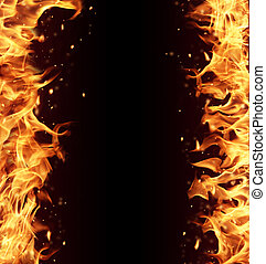 Fire frame with free space for text isolated on black...