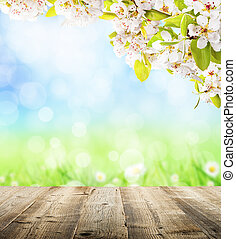 Spring background - Spring abstract backgroud with wooden...