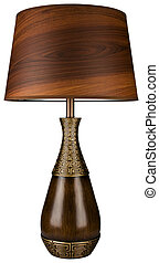 Wood and Brass Table Lamp