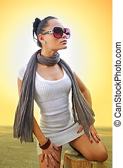 beautiful woman with brown scarf