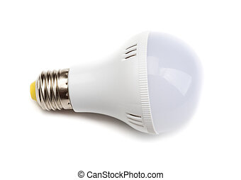 White Lightbulb Isolated on White Background - Round LED...