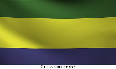 gabon flag waving gently in wind