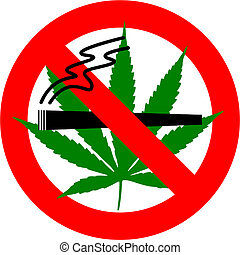 No Cannabis Smoking - No cannabis sign isolated over white...