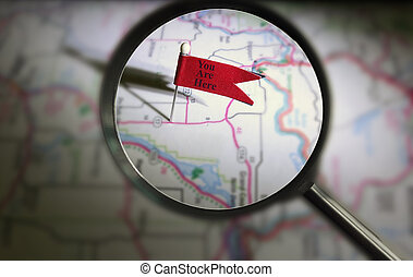 You Are Here pin magnified - Pin flag locator on map with...