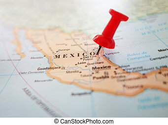 Mexico map pin - Map of Mexico with red push pin...