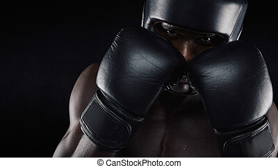 African american boxer ready for fight - African american...