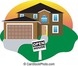 Open House - Real Estate, open house with an open door...