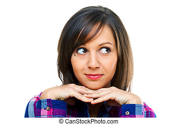 Young woman looking away isolated on white background, close...