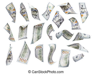 Set of Falling or Floating $100 Bills Each Isolated