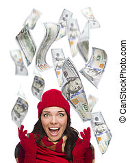 Young Excited Woman with $100 Bills Falling Around Her