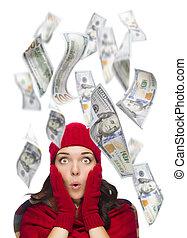 joven, excitado, mujer, con, $100, cuentas, Caer, alrededor,...