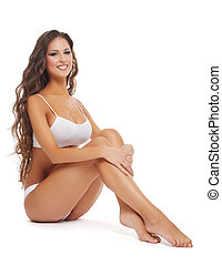 Concept of legs epilation Woman with perfect skin - Concept...