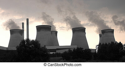 Cooling Towers - Cooling towers at a coal fired power...