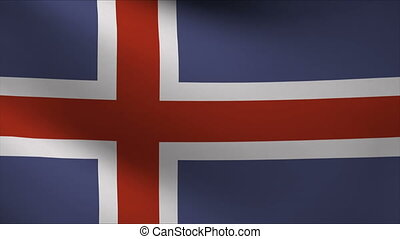 iceland flag waving gently in wind