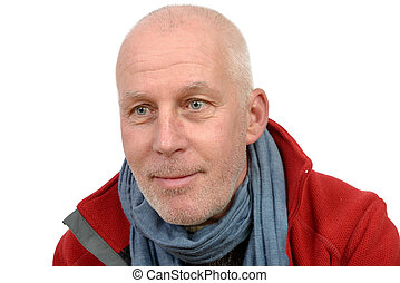 middle-aged man with a red jacket