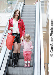 Mum and daughter on the escalator