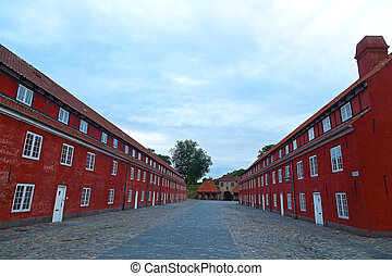Army barracks at Kastellet Citadel in Copenhagen. The...