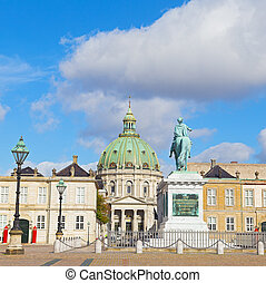 The statue of Amalienborg's founder, King Frederick V and...