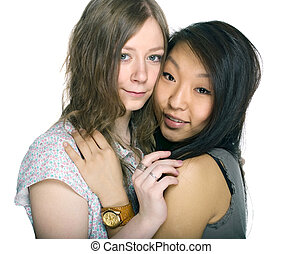 asian and caucasian gilrs
