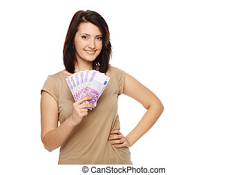 Woman with euro money in hand - Closeup of young beautiful...