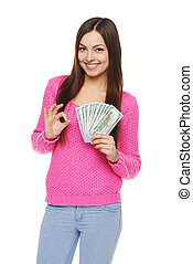Woman showing us dollar money - Happy smiling woman holding...