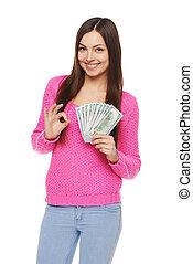 mulher, mostrando, nós, dólar, Dinheiro,