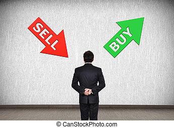 vendere, comprare, freccia