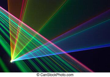 Color laser beams fantail in a haze