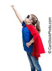 young girl dressed up as superhero with mask and cape...