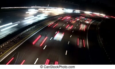 Timelapse Highway at night - timelapse video footage of...