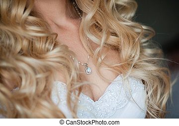 adornment on neck of bride