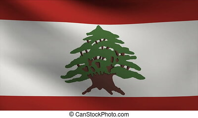lebanon flag waving gently in wind